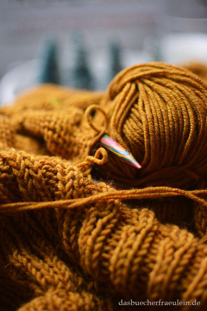 Stricknadel und Wolle